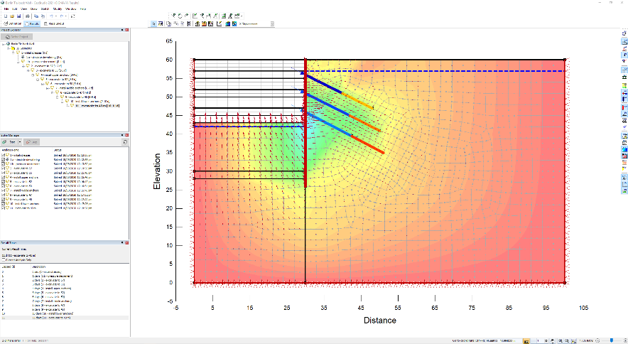 Sequential analysis of an excavation with a tie-back wall